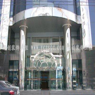 办公楼镜面不锈钢包圆柱