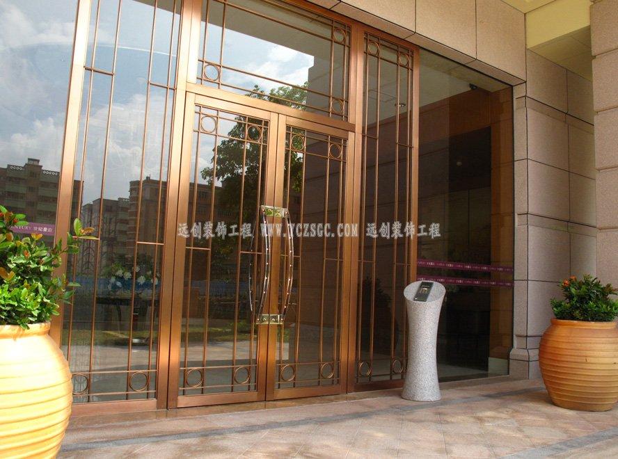 玫瑰金不锈钢大门,不锈钢大门,酒店不锈钢大门