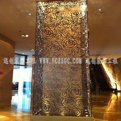 红铜拉丝不锈钢屏风,镂空不锈钢屏风,激光雕刻不锈钢造型