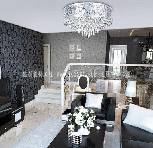 客厅不锈钢雕花灯罩吊灯