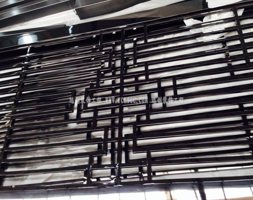 中式隔断_黑钛隔断_不锈钢隔断_镜面不锈钢